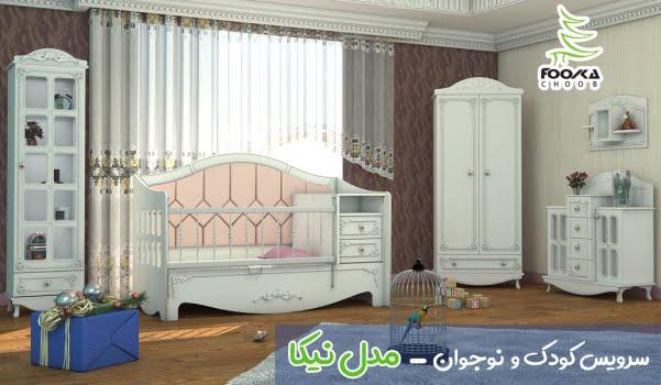 سرویس تخت و کمد نوزاد مدل نیکا با رنگ سفید برای دکوراسیون اتاق کودک