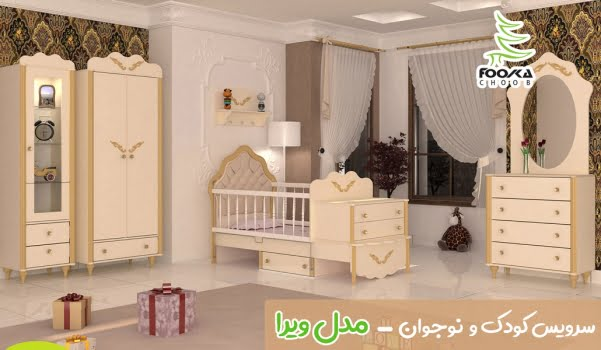 سرویس تخت و کمد نوزاد و نوجوان با رنگ کرمی از دکوراسیون اتاق خواب نوزاد مدل ویرا