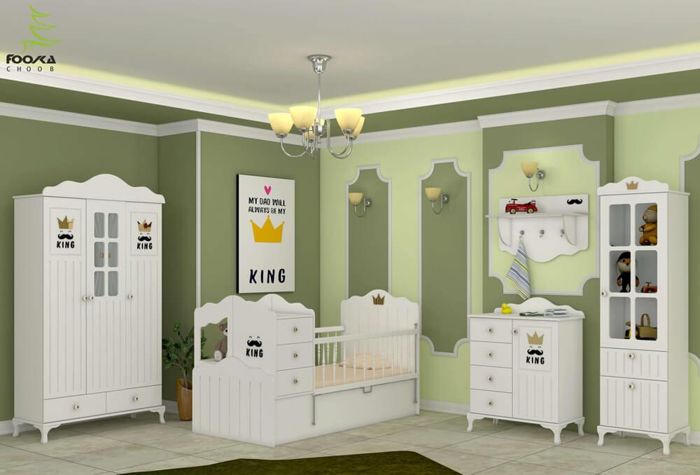 سرویس خواب نوزاد و کودک فوکا چوب مدل کینگ