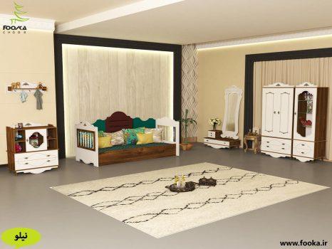 اتاق خواب نوزاد به همراه تخت مبلی و کمد نوزادی با تم قهوه ای