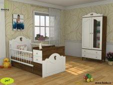 یک نمونه اتاق نوزاد دارای تخت و کمد نوزاد با جنسیت خنثی