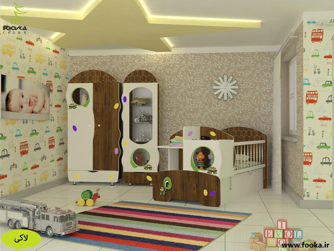اتاق کودکانه با ست تخت و کمد نوزاد مدل لاکی