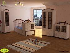 سرویس چوبی نوزاد با رنگ سفید و قهوه ای درون اتاق کودک پسر مدل شاتی