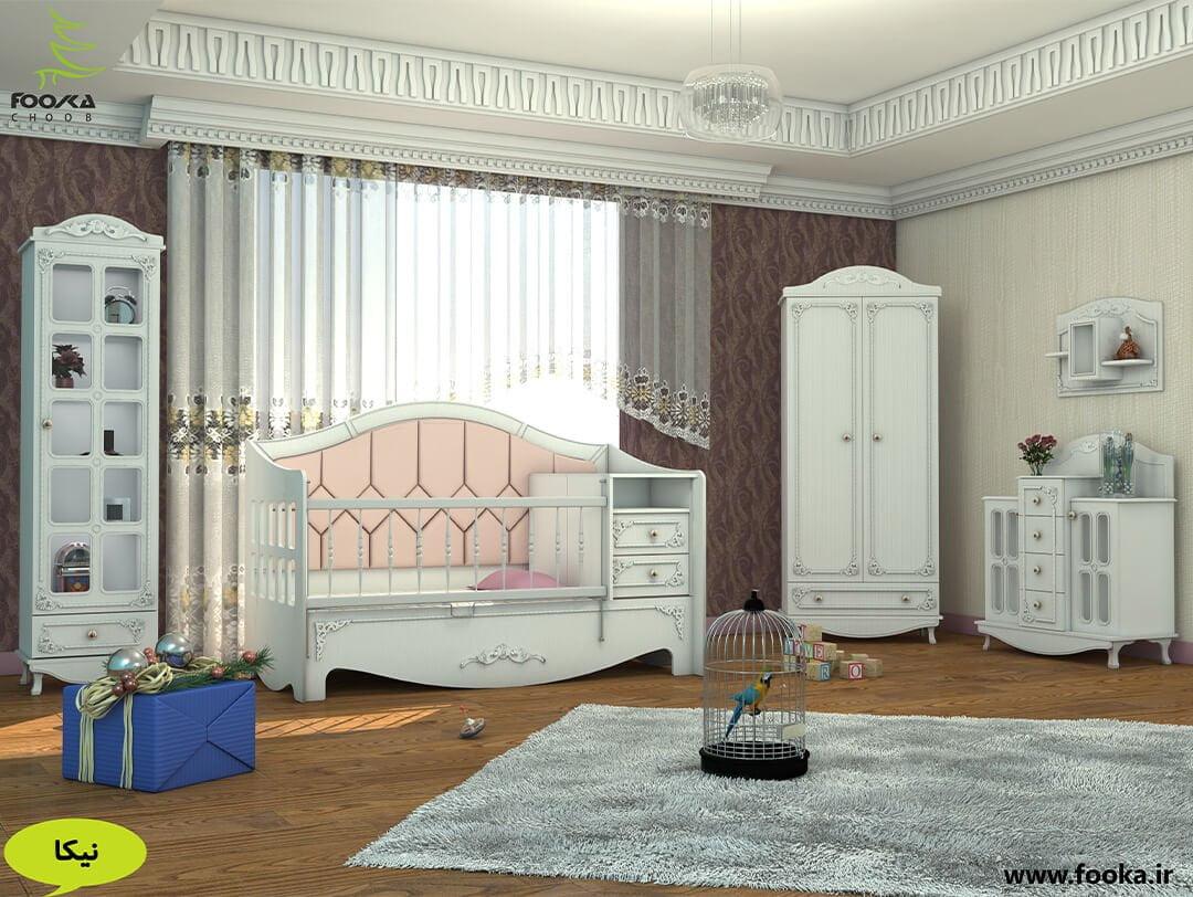 اتاق کودک مدل کینگ به همراه تخت مبلی دو منظوره و کمد نوزاد
