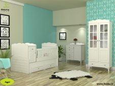 سرویس چوبی نوزاد مدل سپید در اتاق نوزاد به رنگ فیروزه ای