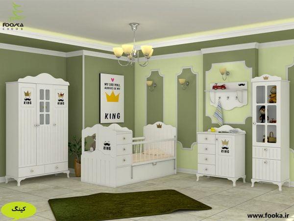 سرویس تخت و کمد نوزاد مدل کینگ دارای شلف اتاق کودک با تم اتاق سبز رنگ