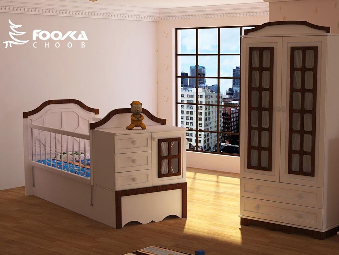 تخت و کمد نوزاد پسر مدل شاتی