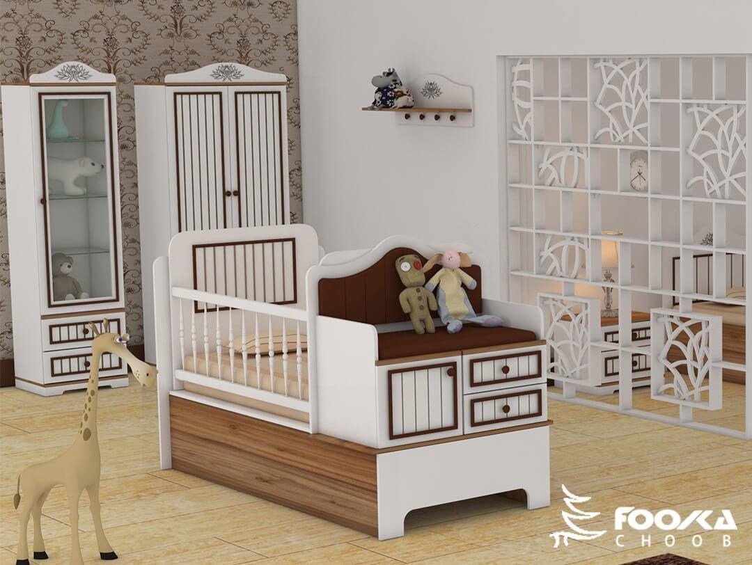 تخت و کمد نوزاد پسر مدل لاین