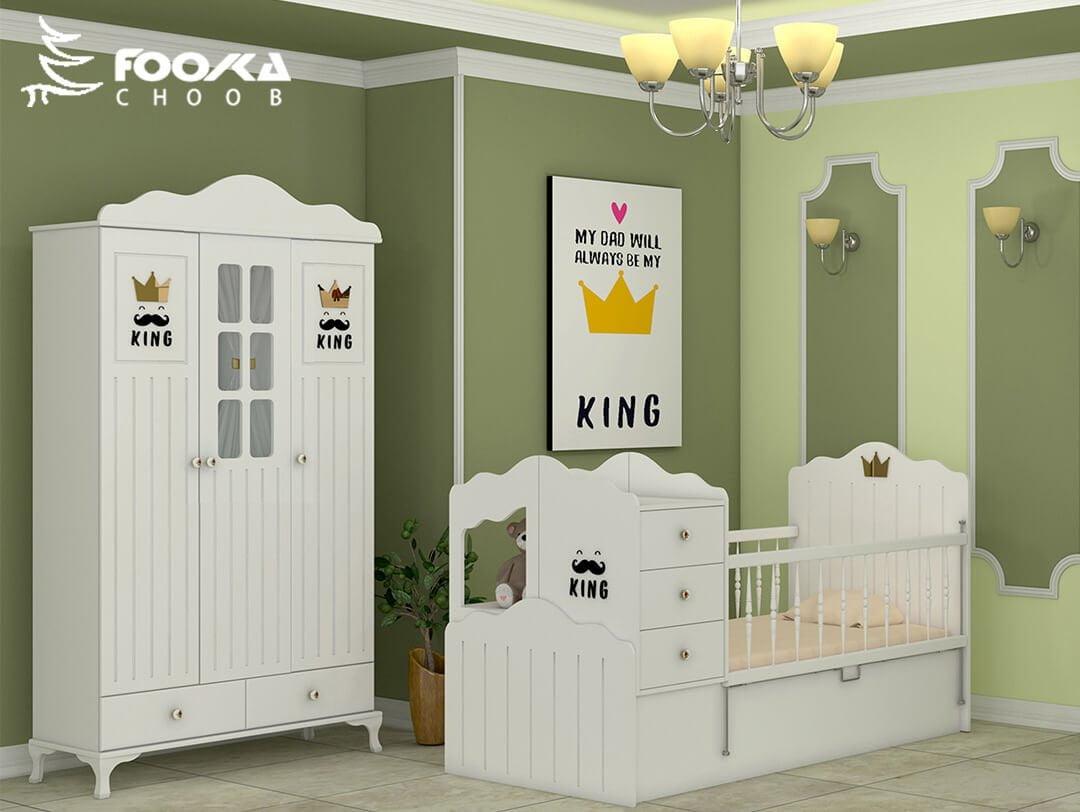 تخت و کمد نوزاد پسر مدل کینگ