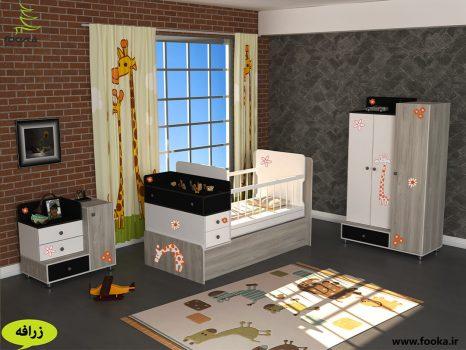 سرویس چوبی نوزاد شامل تخت و کمد نوزاد به همراه پرده اتاق کودک با طرح زرافه
