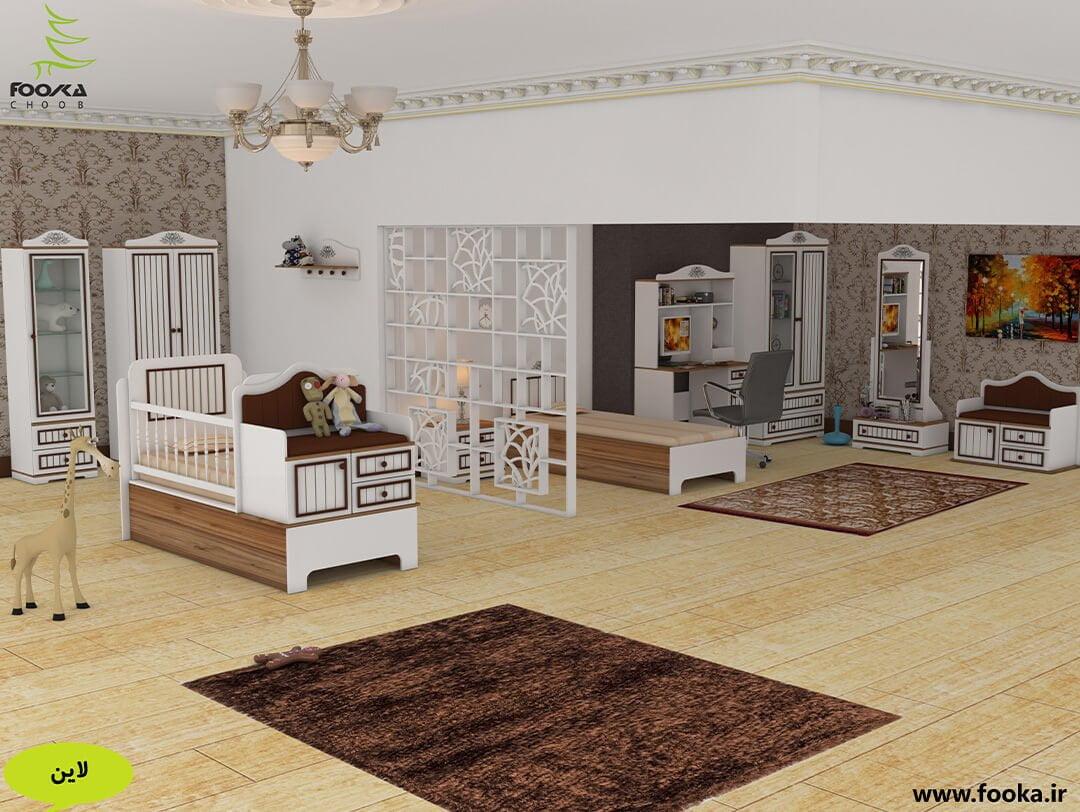 چیدمان زیبای اتاق نوزاد مدل لاین