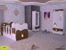 سرویس خواب نوزاد مدل گوزن در اتاق نوزاد با کاغذ دیواری فانتزی