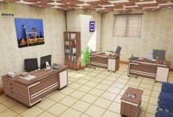 اتاق میزهای اداری مدل اکتیو شامل میز مدیریت ال میز منشی و میز کارشناسی