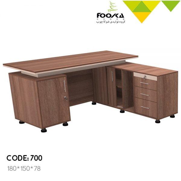 میز مدیریت ال مدل اکتیو دارای سه کشو و یک درب کابینتی