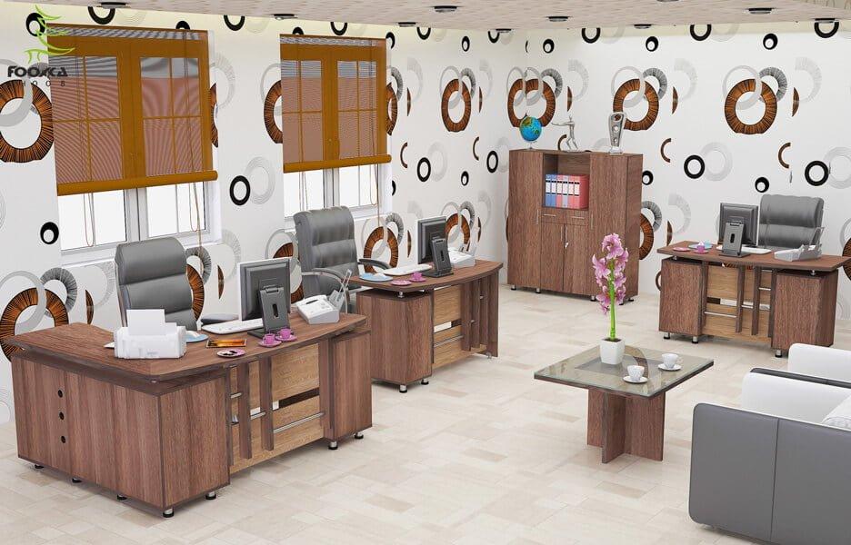 اتاق میزهای اداری مدل شهرام دارای میز مدیریت ال و میز اداره ساده و میز منشی