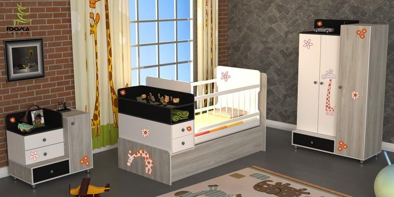 تخت و کمد نوزاد مدل زرافه