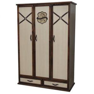 کمد سه درب سرویس خواب نوجوان مدل سیاوش با رنگ کرم قهوه ای