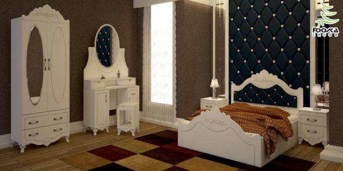 سرویس خواب چوبی و دکوراسیون اتاق خواب ساده و شیک طرح فلاور