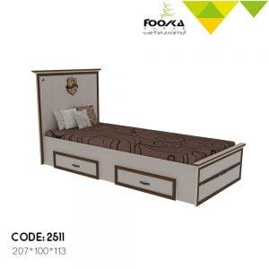 تخت اتاق جوان رنگ کرم با دوکشو زیر تخت مدل سیاوش