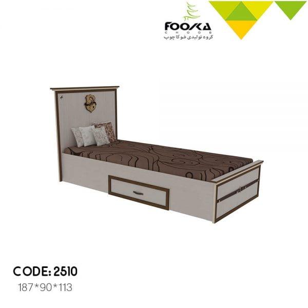 تخت اتاق نوجوان رنگ کرم با یک کشو زیر تخت مدل سیاوش