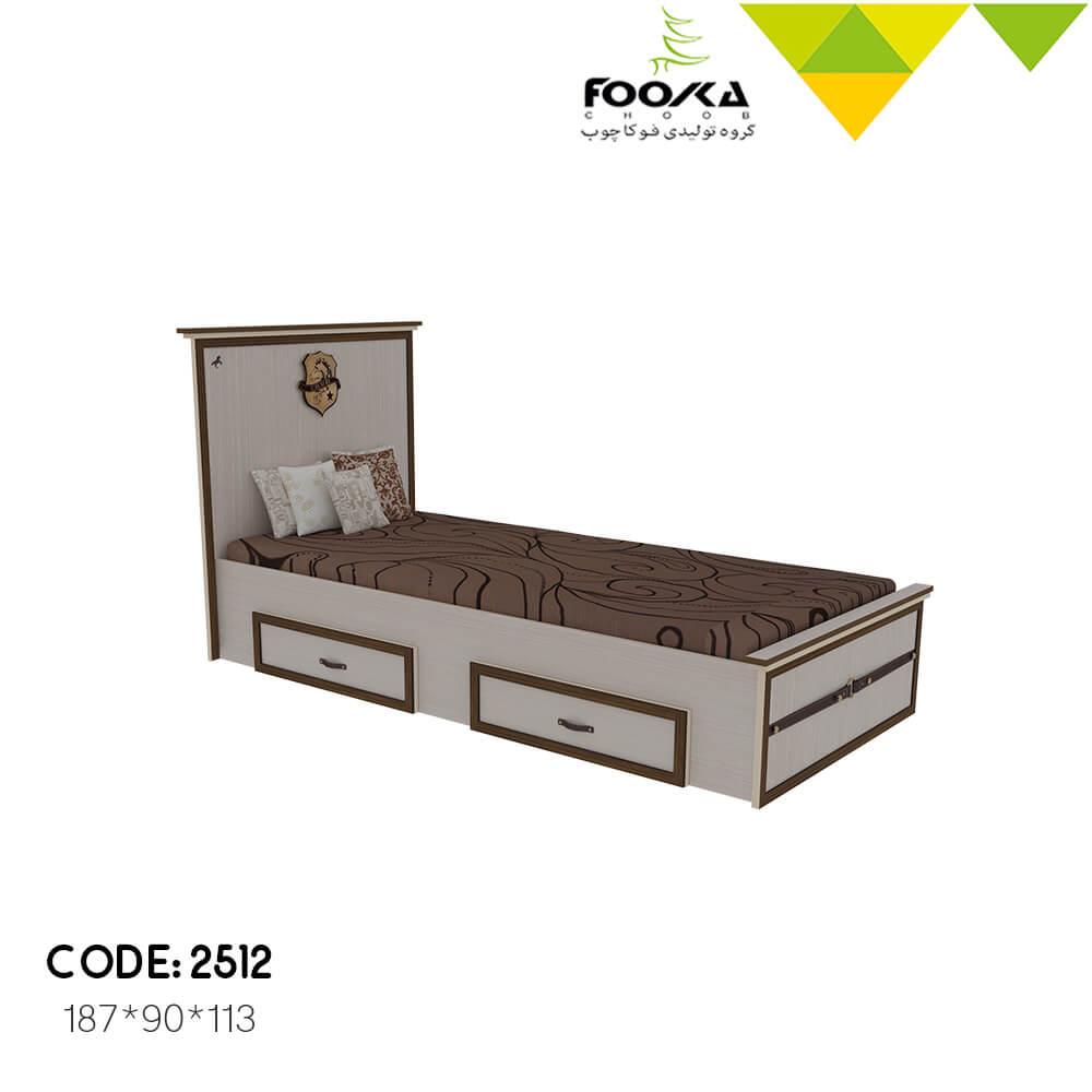 تخت اتاق نوجوان رنگ کرم با دوکشو زیر تخت مدل سیاوش