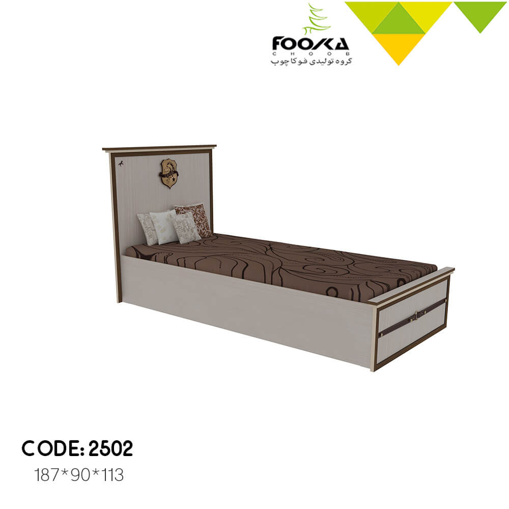 تخت خواب اتاق نوجوان رنگ کرم قهوه ای مدل سیاوش
